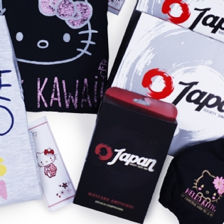 Kit Camisetas E Máscara Antiviral Hello Kitty Konnichiwa